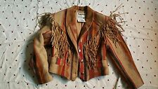 Vintage womans Pioneer wear indian blanket coat with leather fringe size 10