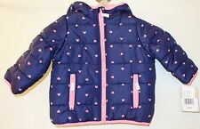 New ~ Carter's Navy W/Hearts Poly Filled Winter Jacket~ Girl's 18 Month