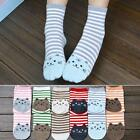 Hot Cute Cat Footprints Striped Soft Socks Women Girl Cartoon Cotton Socks Floor