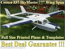 "Cessna 337 Skymaster 77"" WS Giant RC Airplane Full Size PRINTED Plans & Template"
