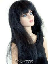 BLACK MOHAIR WIG FITS VINTAGE AND MODERN DOLLS  SIZE 5/6""