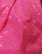 """Shiny Holographic Sequin Glitzy Dance Lycra Fabric Material Textile 60"""" Flo Pink"""