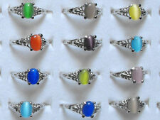 20Pcs Wholesale Job Lot Jewelry Mixed Cat Eye Stone Gemstone Silver Tone Rings
