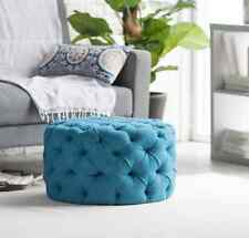 Large Round Ottoman Tufted Teal Blue Modern Foot Stool Retro Seat Coffee Table
