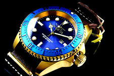 NEW Invicta Hydromax Pro DiverBlue Dial 18K Gold Plated S.S NATTO Leather Watch