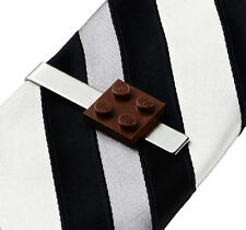 Brown LEGO (R) Tie Clip - Tie Bar - Clasps - Business Gift - Handmade - Gift Box