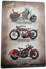 INDIAN MOTORCYCLE (4) METAL TIN SIGNS vintage cafe pub bar garage decor shabby