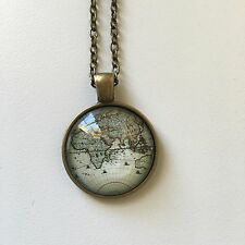 AFRICA EURASIA EUROPE WORLD steampunk Map Pendant Bronze necklace ATLAS f04