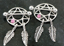 Pair 316L surgical steel w/ pink C.Z. dream catcher nipple shields 14g 3/4""