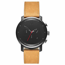 MVMT Watch - Minimalist Black - Red Second Hand - Genuine Tanned Leather Strap