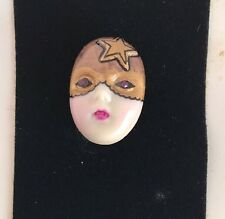 """Cordon Rouge "" Adagio Mask Face Pin Hand-Painted Porcelain Swarovski Crystal"