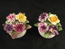 """Vintage Coalport Floral Bone China Flowers in Flower Pots 1-3/4"""" Tall, Lot of 2"""