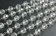 3FT GLASS BEADS 10MM CRYSTAL CHANDELIER LAMP PART WEDDING CHAIN GARLAND STRING