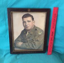 Vintage US Army WW2 Frame Photo Insignia Eagle Seal Gold 15th air Force