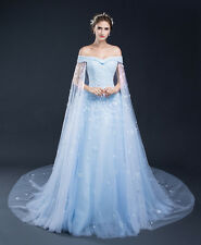 A Line Light Blue Cheap Wedding Dresses With Cape 2016 In Stock Wedding Gowns