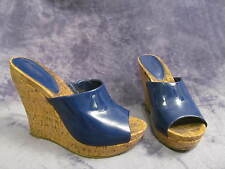 Jessica Simpson GATTY 8B/38 Cobalt Blue Patent Cork Wedge Platform Mule Sandals