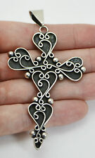 HUGE Vintage TAXCO Mexico STERLING SILVER CROSS with Scrolled Hearts PENDANT