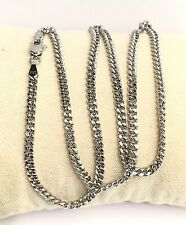 18k Solid White Gold Italian Flat Curb/Link Chain Necklace, 24 Inches, 9.02Grams