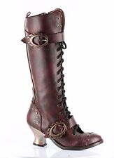 NIB Hades VINTAGE Knee Boots MANY COLORS Steampunk Metal Heel Lace Up Buckles