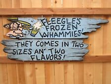 """DOGPATCH USA AMUSEMENT PARK"" 1968 ORIGINAL SIGN ""FLEEGLE'S FROZEN WHAMMIES"""