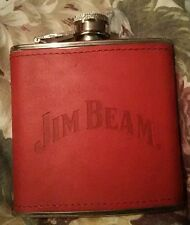 JIM BEAM STAINLESS STEEL RED LEATHER WRAP WHISKEY HIP FLASK BOTTLE (6 OZ.)