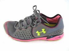 Under Armour 9.5M Micro G gray pink yellow running womens ladies tennis sneakers