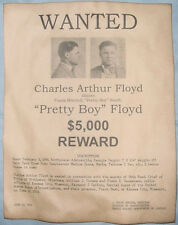 Pretty Boy Floyd Wanted Poster, Gangster, Outlaw, Bank Robber