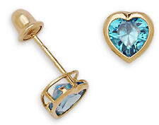 Solid 14K Yellow Gold 7mm-HEART Shaped Ocean Blue CZ ScrewBack Stud Earrings