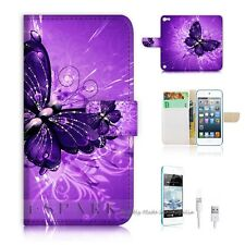 iPod Touch 5 iTouch 5 Flip Wallet Case Cover! S8184 Purple Butterfly