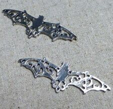 HALLOWEEN Antique Silver Connector Bat 57mm - pack of 5