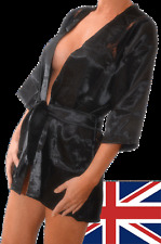 Sexy Black Silky Satin & Lace Short Dressing Gown. Ladies Lingerie. UK Size 8-10