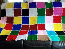 "Hand Crafted GEOMETRIC MULTI COLORED  AFGHAN CROCHET THROW BLANKET 64"" X 82"""