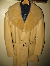 Lakeland Men Yellow Leather Sherpa Collared Safari 70's MOD Coat Jacket 46 Long