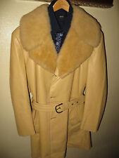 Lakeland Men Yellow Leather Sherpa Collared Safari 70's MOD Coat Jacket 46 Long