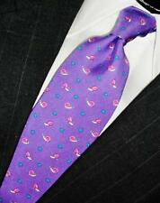NEW BROOKS BROTHERS BLUEVIOLET PINK BLUE SNAILS PRINTED SILK NECK TIE