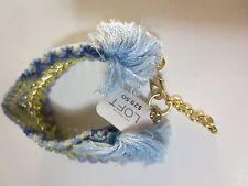 Ann Taylor LOFT Blue Lime Crystal Gold link Fringe Bead Bracelet NWT $29.50