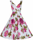 Classic Pink Purple Cotton Full Circle Rockabilly 1950's Vintage Style Dress 20