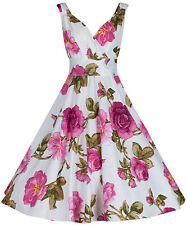 Retro Vintage 40's 50's Large Rose Print Cotton Party Bridesmaid Tea Dress 18