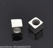 200 PCs Silver Tone Tiny Cube Spacers Beads Findings