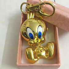 DBS 18K Golden Plated Tweety Bird Key Ring Pocket Watch Quartz Movement