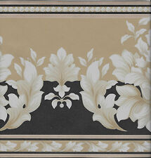 ARCHITECTURAL WHITE LEAF ON TAN AND BLACK WALLPAPER BORDER