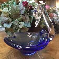 Beautiful Cobalt Blue Vintage Hand Blown Art Glass Swan Bird Candy Dish