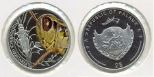2010 Palau Proof Color Silver $1-Grasshopper-rare-mintage 1000