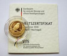 20 Euro BRD 2016 - Heimische Vöge l - Nachtigall Gold  ,,  F ,,