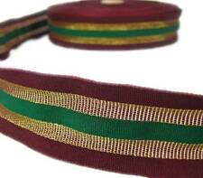 "DISCOUNTED 5 Yd Christmas Burgundy Red Gold Green Striped Wired Ribbon 1 1/2""W"