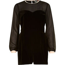 BNWT River Island Chelsea Girl Black Velvet Sheer Evening Occasion Playsuit 10