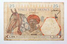 Billet 25 Francs Afrique Occidentale 1938 bleu (CJ6)