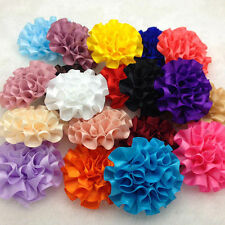 5pcs satin ribbon big Peony Flower Appliques/craft/Wedding decoration Mix