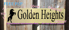 Rearing Horse Stable door sign plaque Personalised Brushed Gold Ali NOT Vinyl