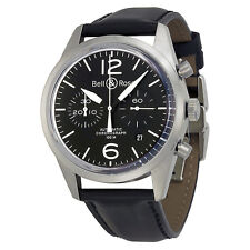 Bell and Ross Vintage Chronograph Black Dial Black Leather Mens Watch